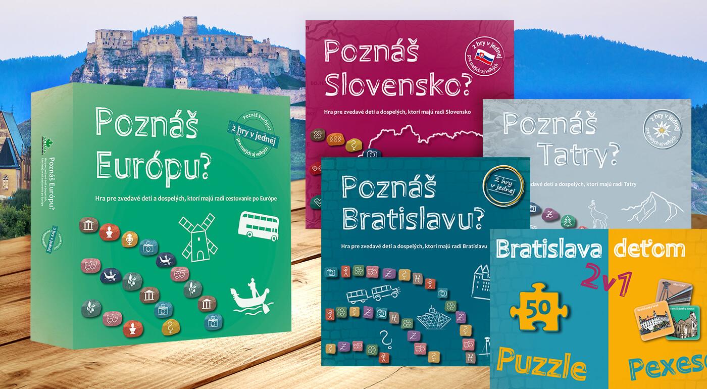 Spoločenské hry z vydavateľstva Dajama - na výber 5 druhov: Poznáš Tatry, Bratislavu, Slovensko a Európu? alebo Bratislava deťom