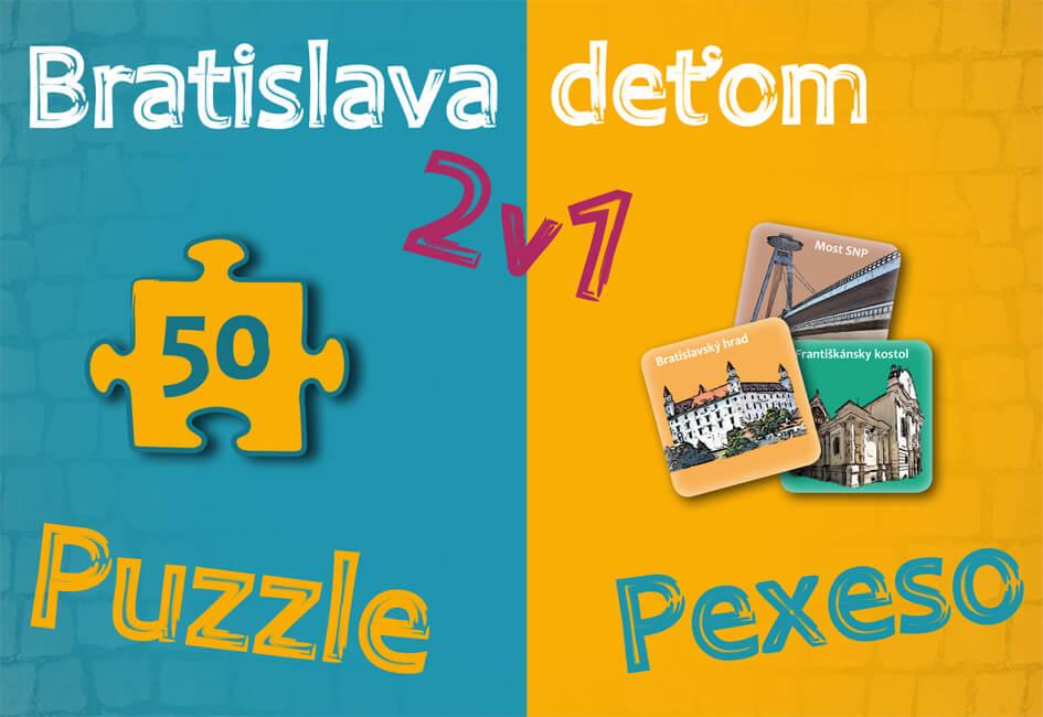 Spoločenská hra Dajama Bratislava deťom 2v1 (puzzle a pexeso)