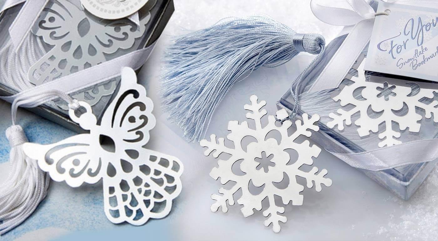 Krásne zimné záložky do knihy - na výber z motívov snehovej vločky a anjela. AKCIA 3+1 ZADARMO.