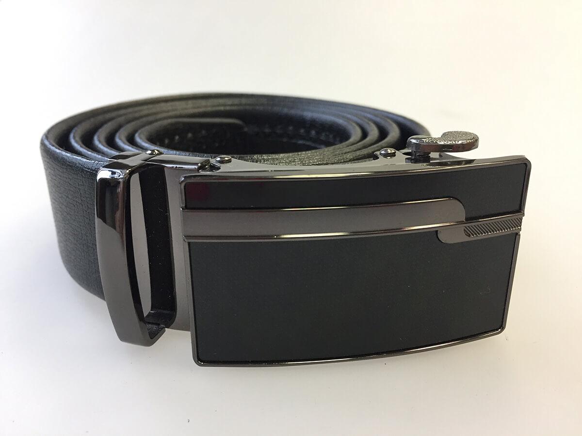 Pánsky kožený opasok - čierny vzor 12, veľkosť 46 (dĺžka 115 cm)