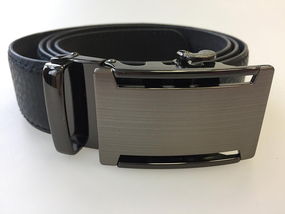 Pánsky kožený opasok - čierny vzor 15, dĺžka 125 cm