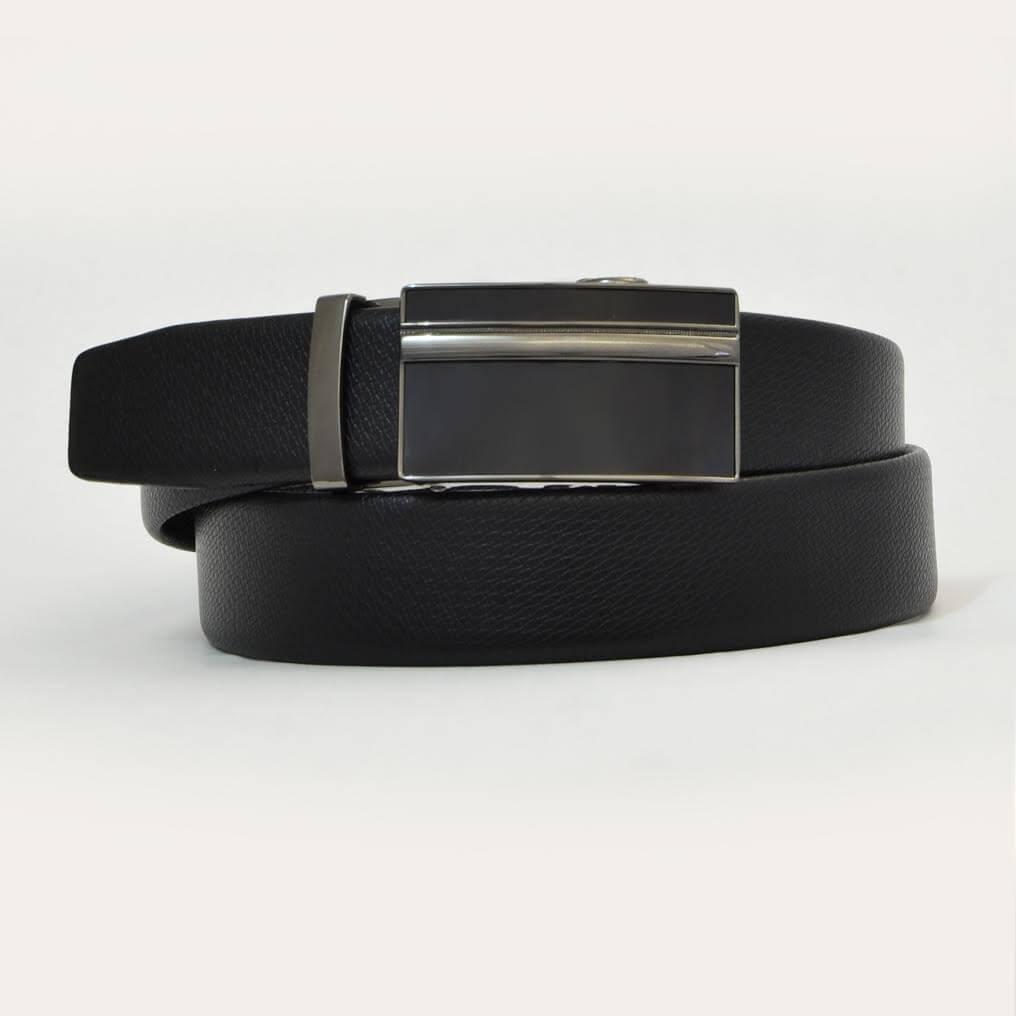 Pánsky kožený opasok - čierny vzor 11, veľkosť 46 (dĺžka 115 cm)