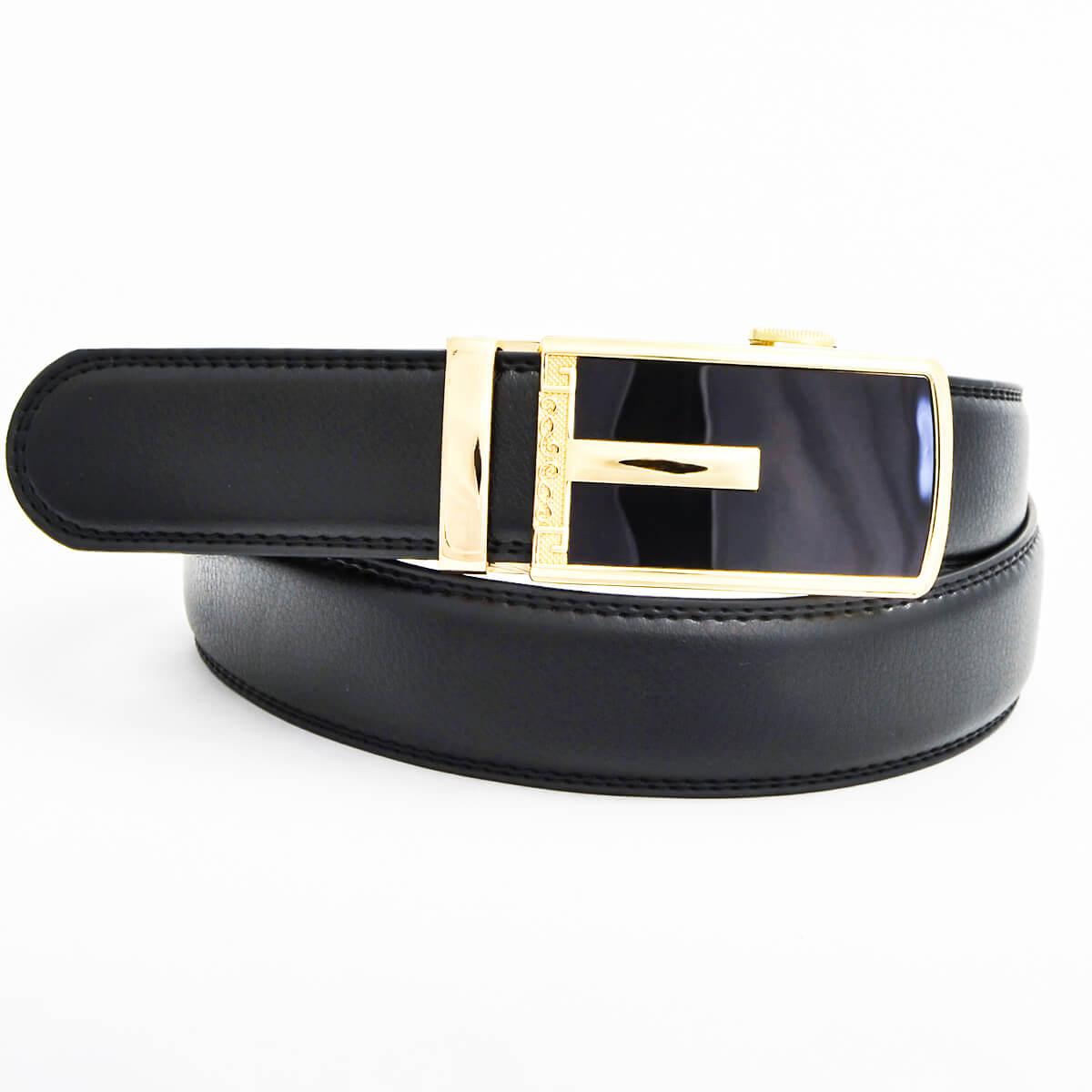 Pánsky kožený opasok - čierny vzor 5, veľkosť 52 (dĺžka 130 cm)