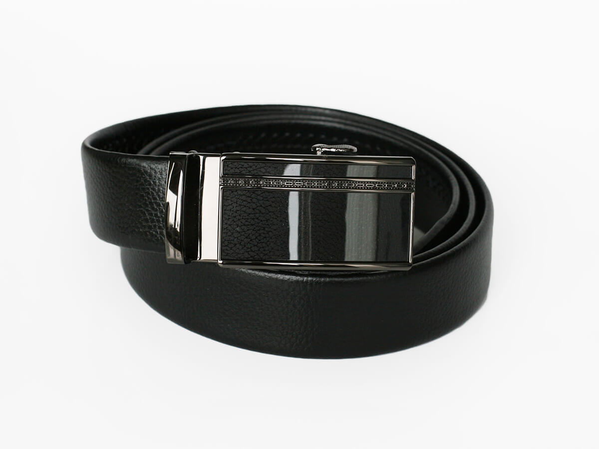 Pánsky kožený opasok - čierny vzor 22, dĺžka 125 cm