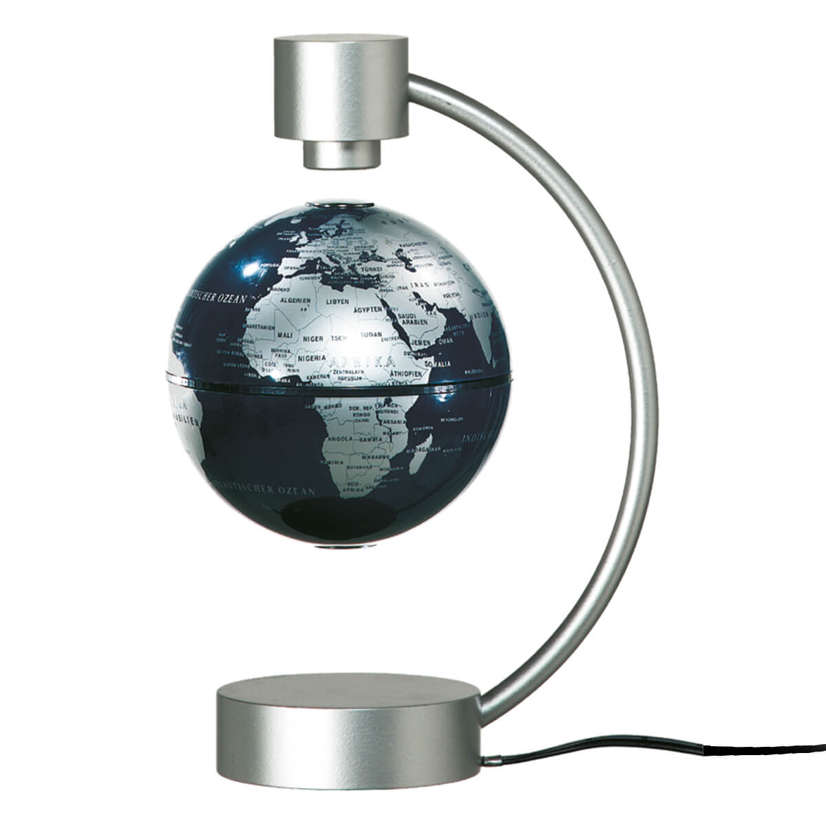 STIEFEL Magnetický glóbus modro-strieborný s anglickými názvami