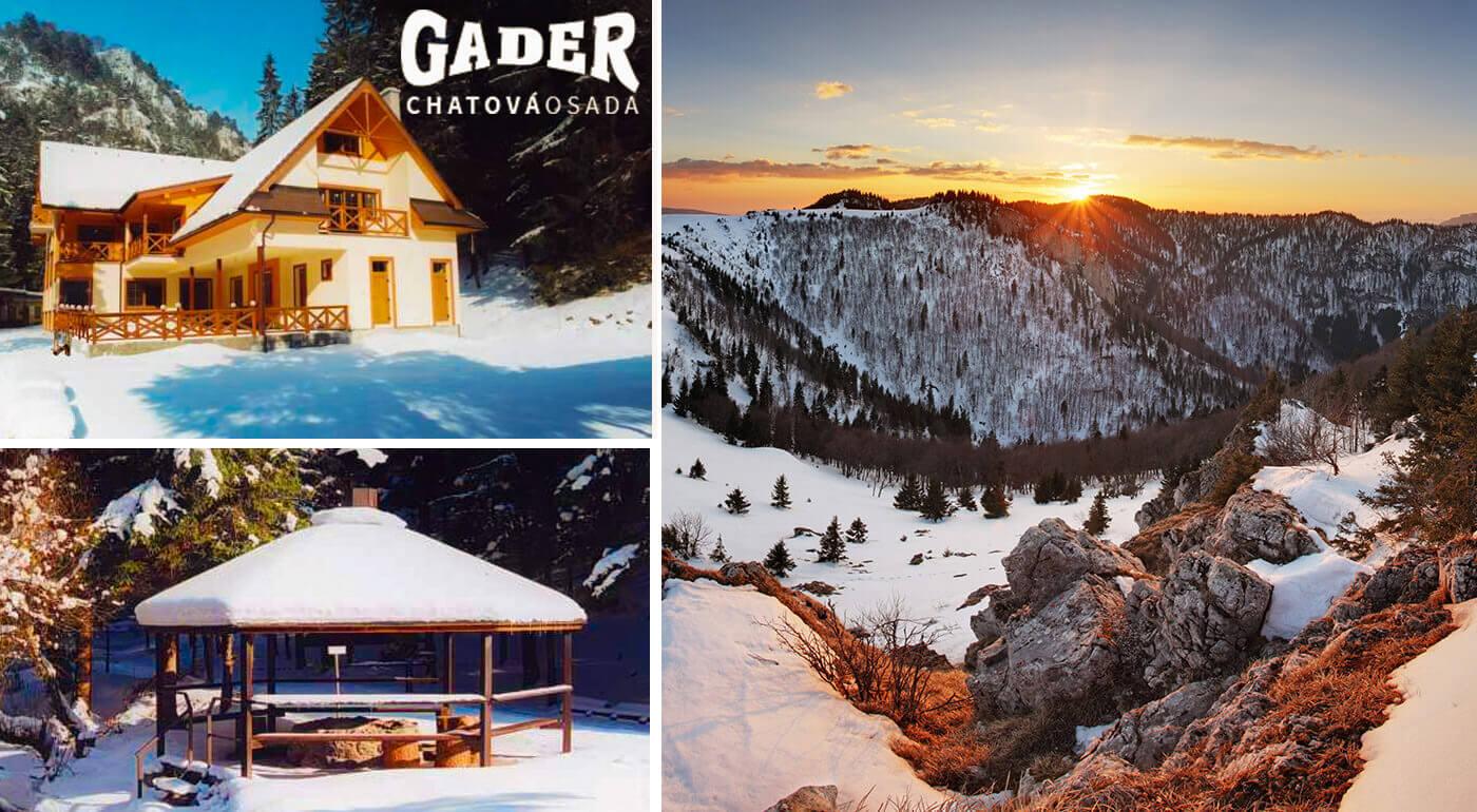 Veľká Fatra: Zimná lyžovačka v Chatovej osade Gader s polpenziou a saunou