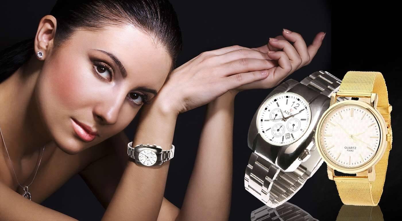 Kvalitné dámske hodinky značky Quartz a Aiers v zlatej alebo striebornej farbe