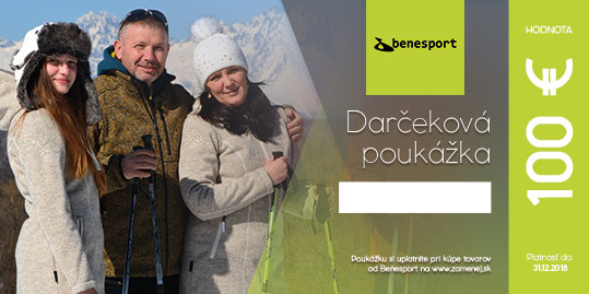Darčeková poukážka na nákup oblečenia Benesport v hodnote 100 €