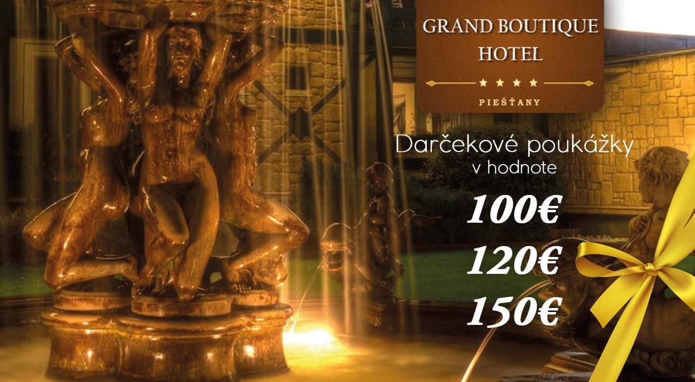 Darčeková poukážka na pobyt v Grand Boutique Hoteli Sergijo**** Piešťany v hodnote 100, 120 alebo 150 €