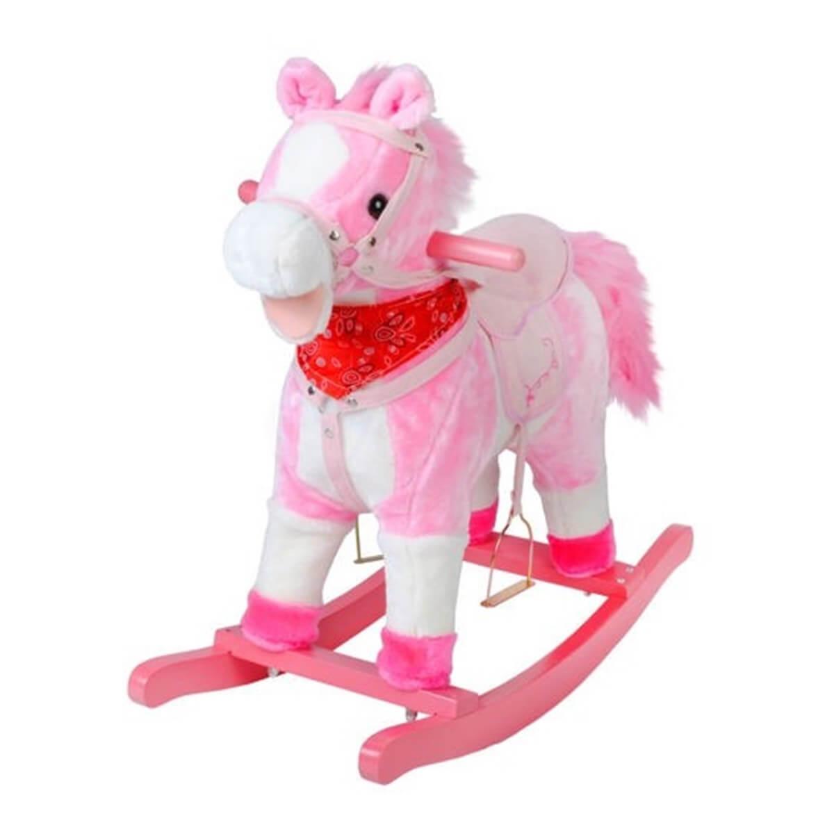 Hojdací koník Milly Mally Mustang s výškou 65 cm - ružový