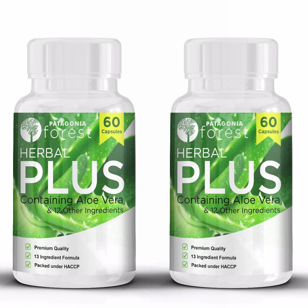 Patagonia Forest: Herbal Plus komplex s výťažkom z aloe vera (balenie 2x 60 kapsúl) + 1 balenie ZDARMA