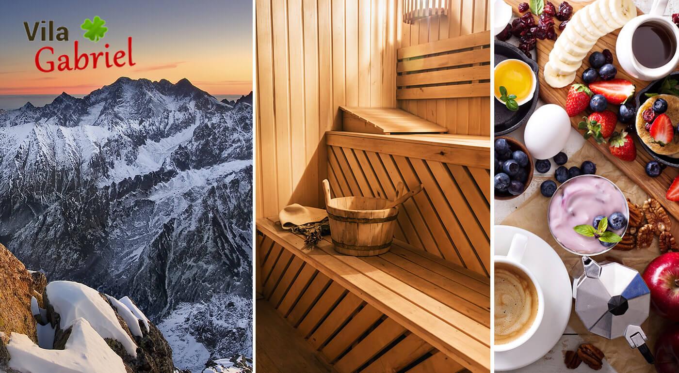 Očarujúce Tatry iba pre vás ako na dlani! Počas 4, 5 alebo 6 dní vo Vile Gabriel si oddýchne vaše telo aj duša. V cene máte raňajky alebo polpenziu, hrejivú saunu a masáž.