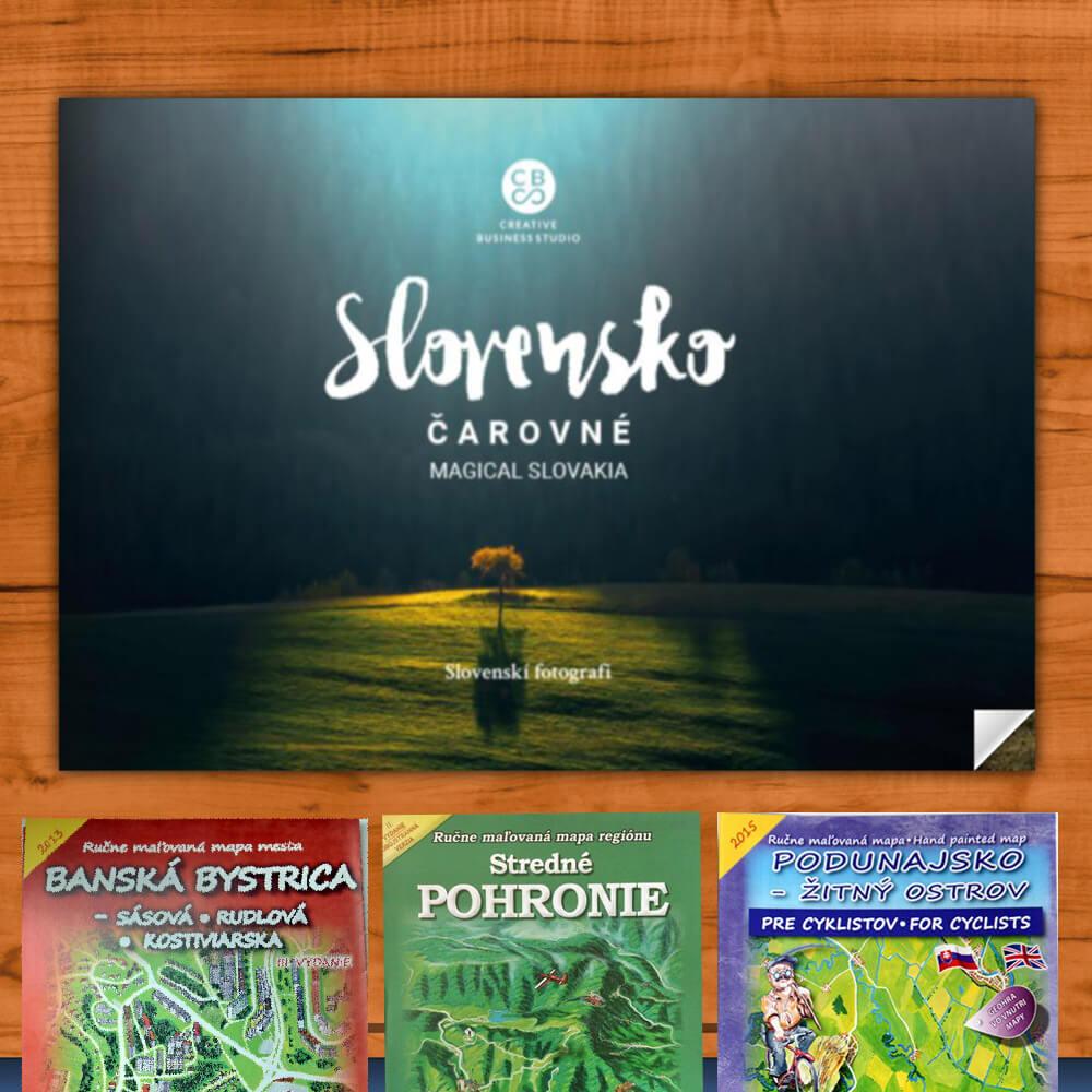Kniha Čarovné Slovensko z vydavateľstva CBS + DARČEK maľovaná mapa