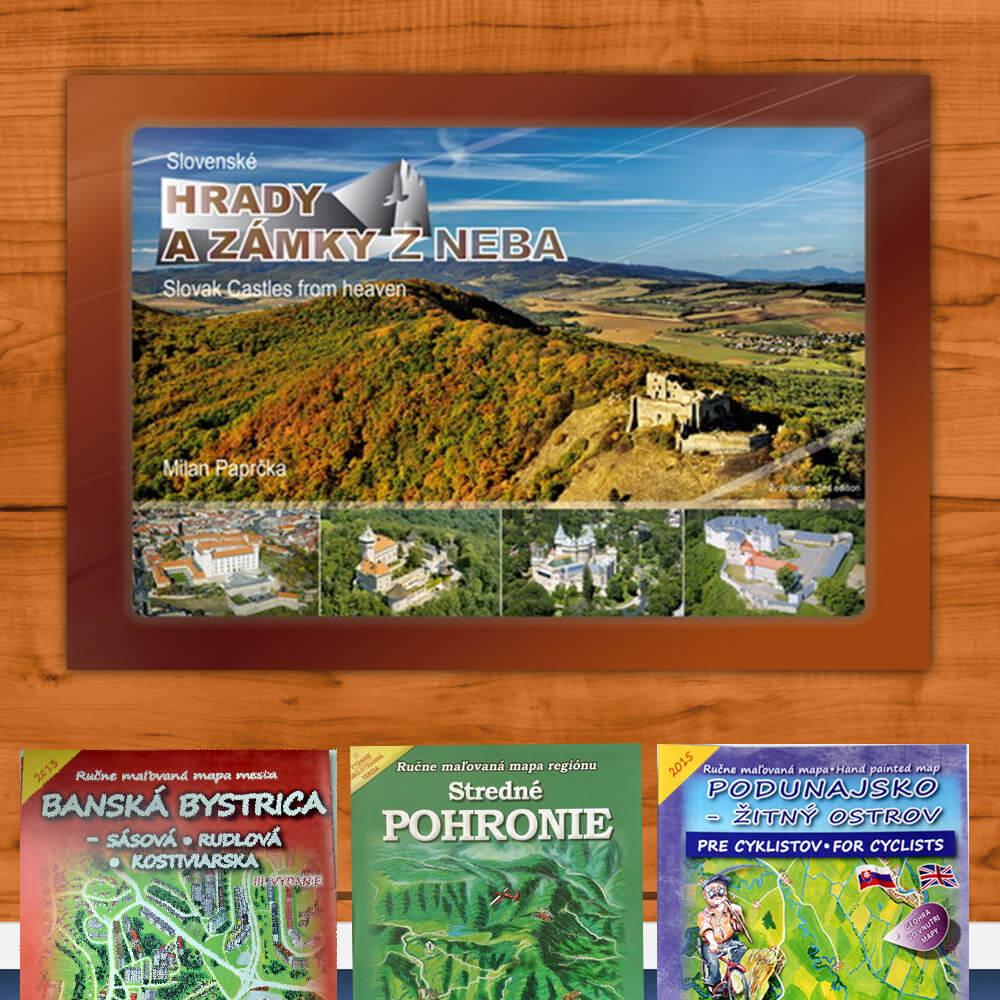 Kniha Slovenské hrady a zámky z neba z vydavateľstva CBS + DARČEK maľovaná mapa