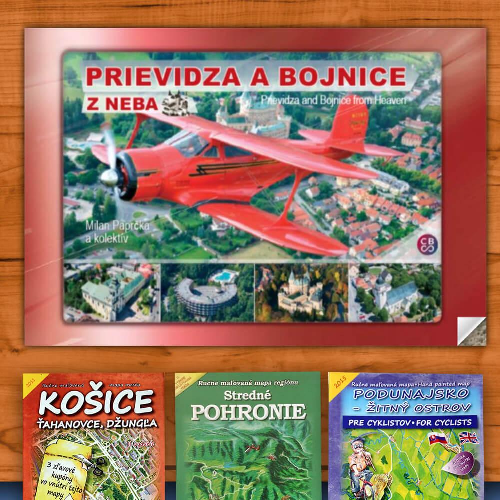 Kniha Prievidza a Bojnice z neba (vydavateľstvo CBS) + DARČEK maľovaná mapa