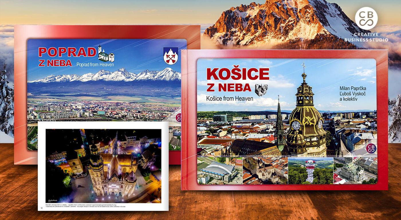 Slovenské mestá z neba - knihy s originálnymi fotografiami z vtáčej perspektívy + DARČEK maľovaná mapa ku každej knihe