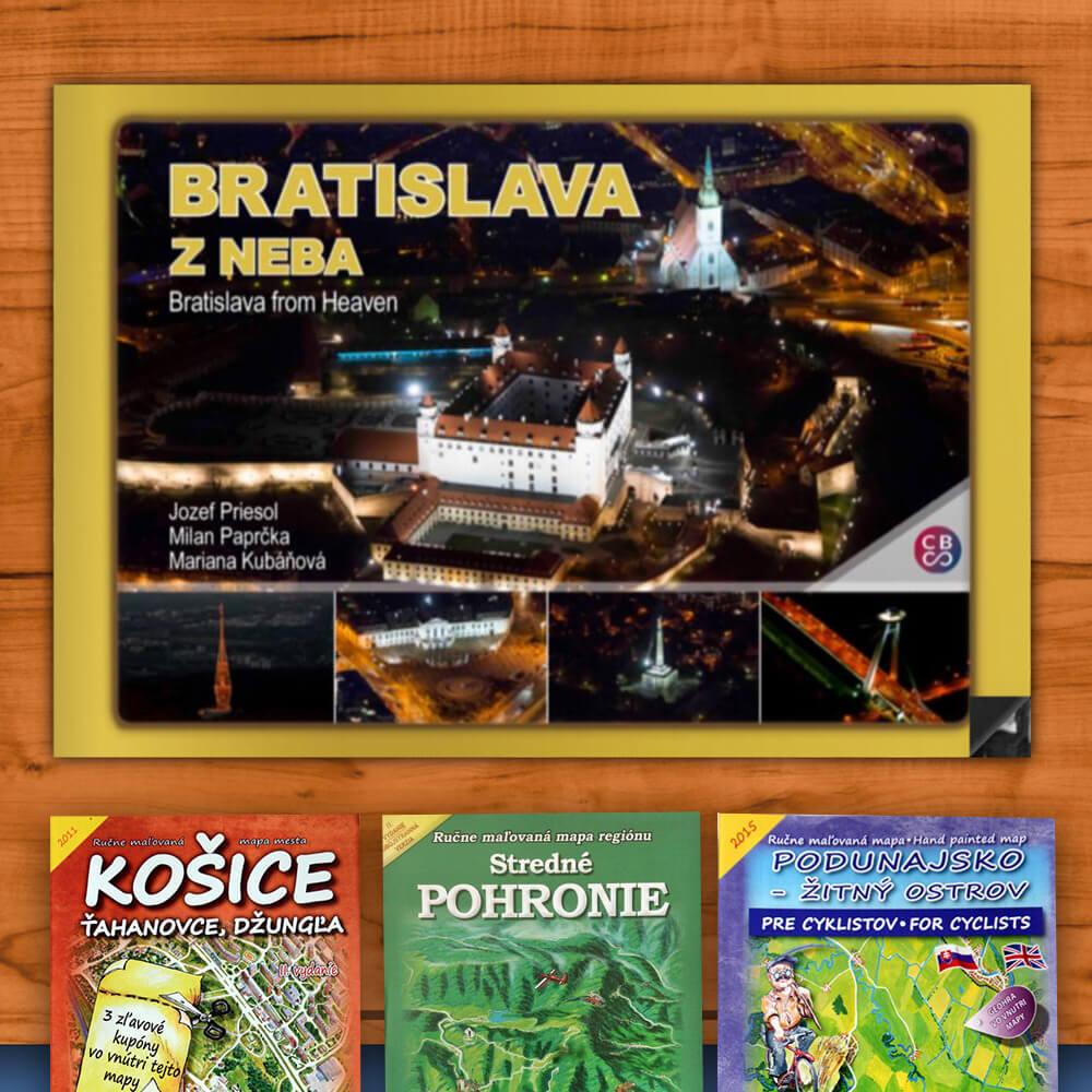 Kniha Bratislava z neba (vydavateľstvo CBS) + DARČEK maľovaná mapa