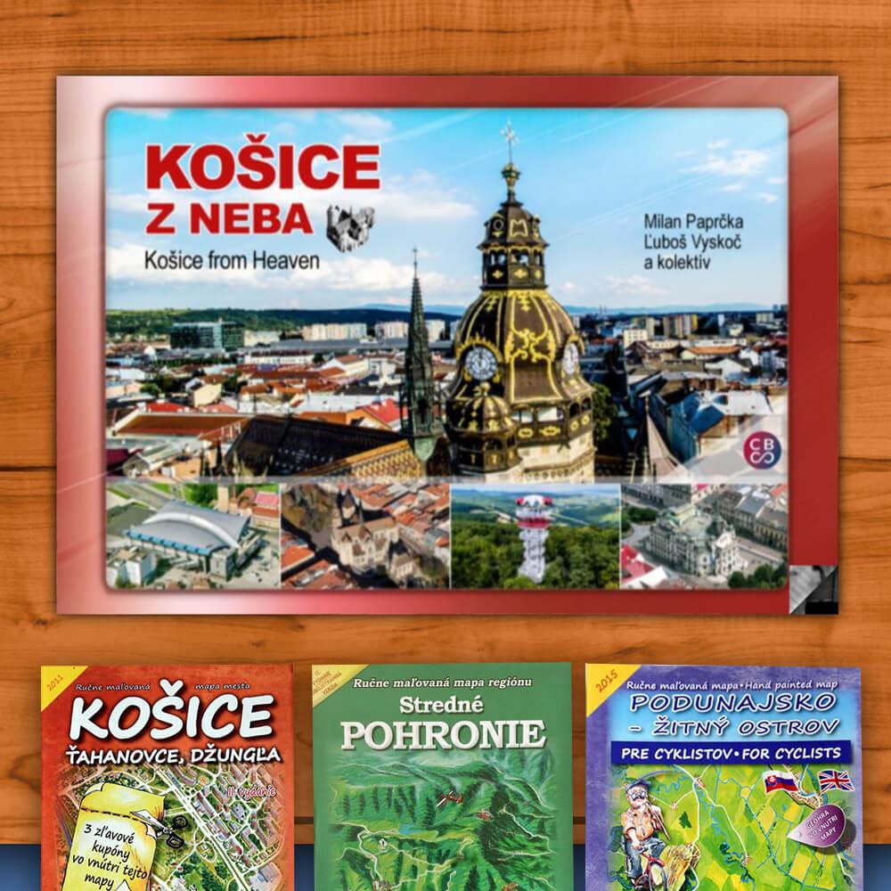 Kniha Košice z neba (vydavateľstvo CBS) + DARČEK maľovaná mapa