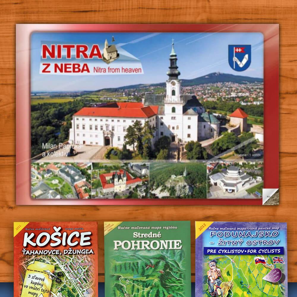 Kniha Nitra z neba (vydavateľstvo CBS) + DARČEK maľovaná mapa