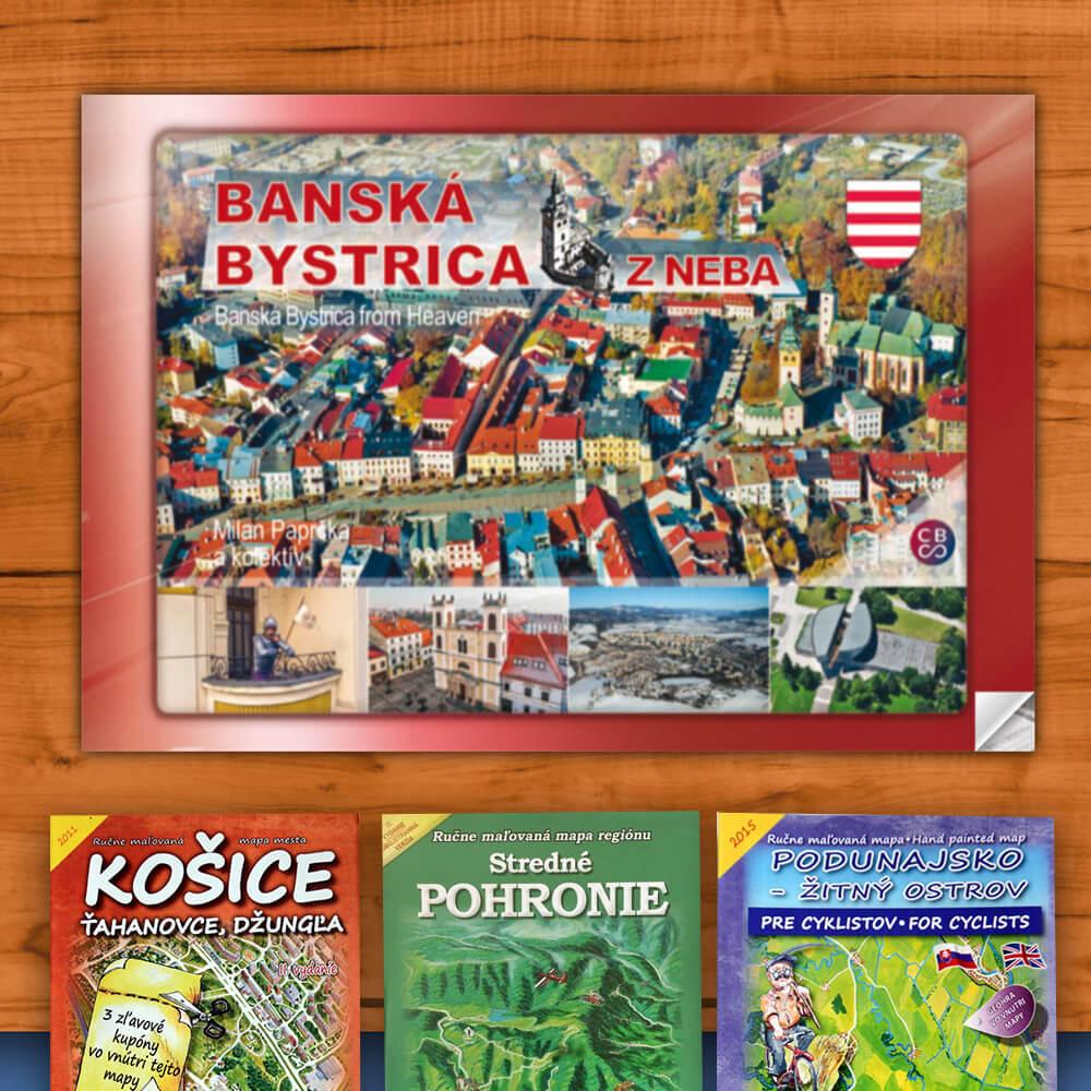 Kniha Banská Bystrica z neba (vydavateľstvo CBS) + DARČEK maľovaná mapa