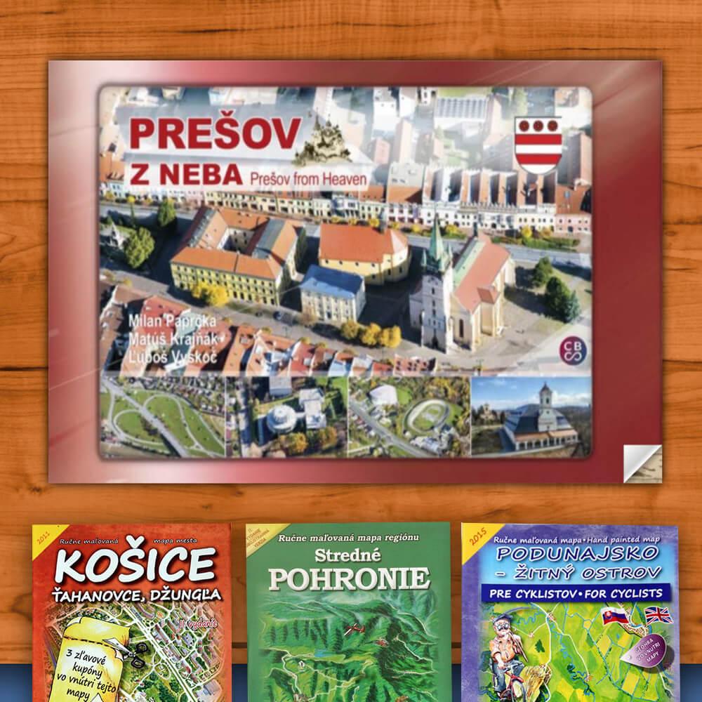 Kniha Prešov z neba (vydavateľstvo CBS) + DARČEK maľovaná mapa