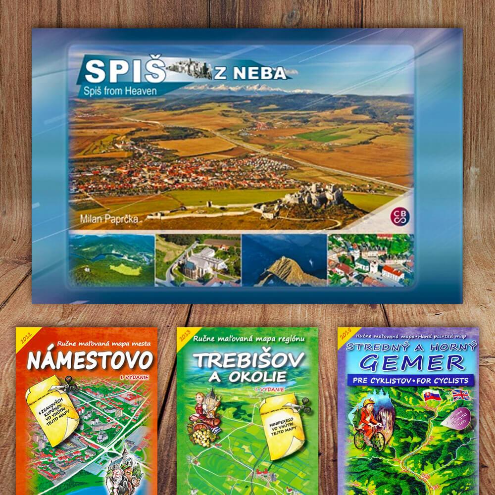 Kniha Spiš z neba (vydavateľstvo CBS) + DARČEK maľovaná mapa