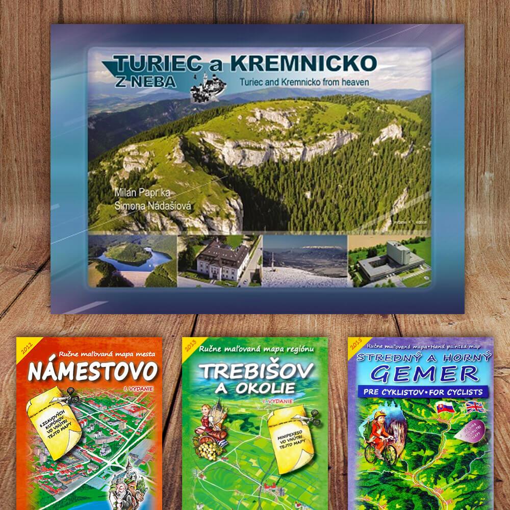 Kniha Turiec a Kremnicko z neba (vydavateľstvo CBS) + DARČEK maľovaná mapa