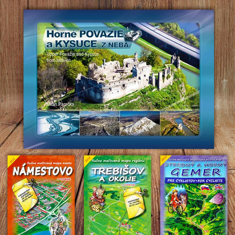 Kniha Horné Považie a Kysuce z neba (vydavateľstvo CBS) + DARČEK maľovaná mapa