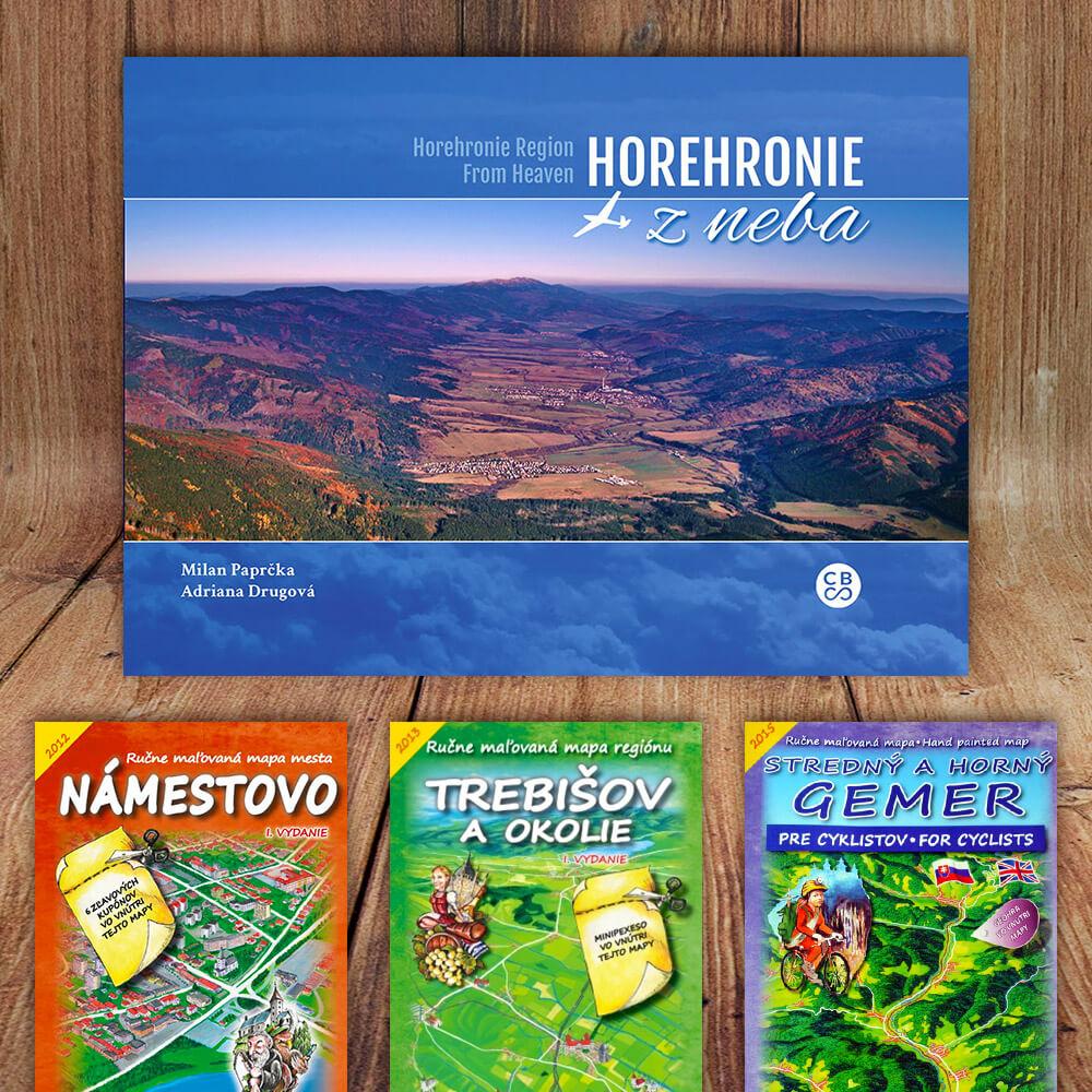 Kniha Horehronie z neba (vydavateľstvo CBS) + DARČEK maľovaná mapa
