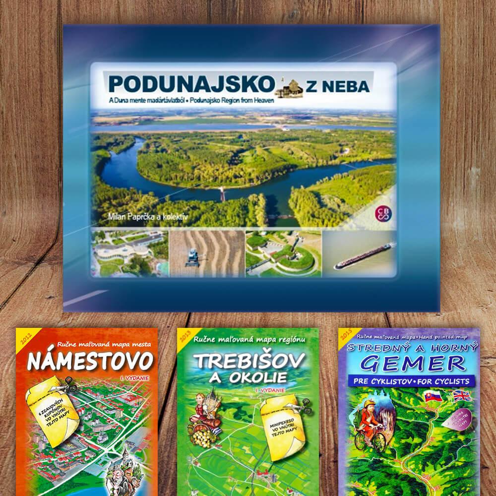 Kniha Podunajsko z neba (vydavateľstvo CBS) + DARČEK maľovaná mapa