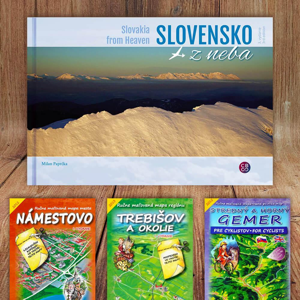 Kniha Slovensko z neba (vydavateľstvo CBS) LUX + DARČEK maľovaná mapa