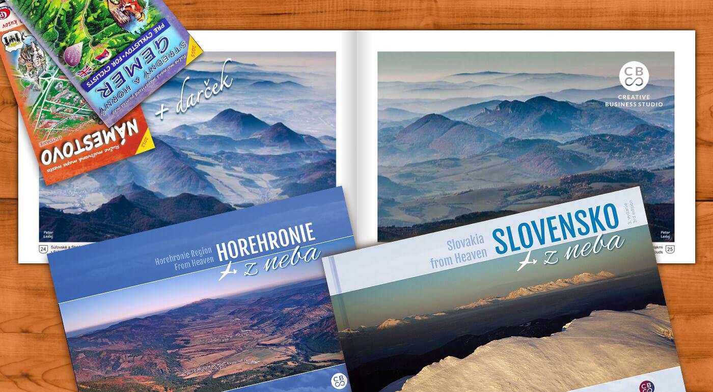 Edícia kníh Regióny Slovenska z neba s leteckými fotografiami + DARČEK maľovaná mapa ku každej knihe