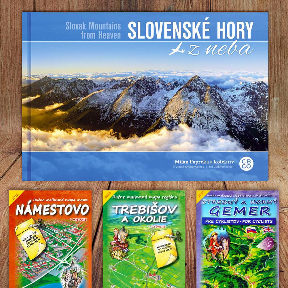 Kniha Slovenské hory z neba (vydavateľstvo CBS) + DARČEK maľovaná mapa