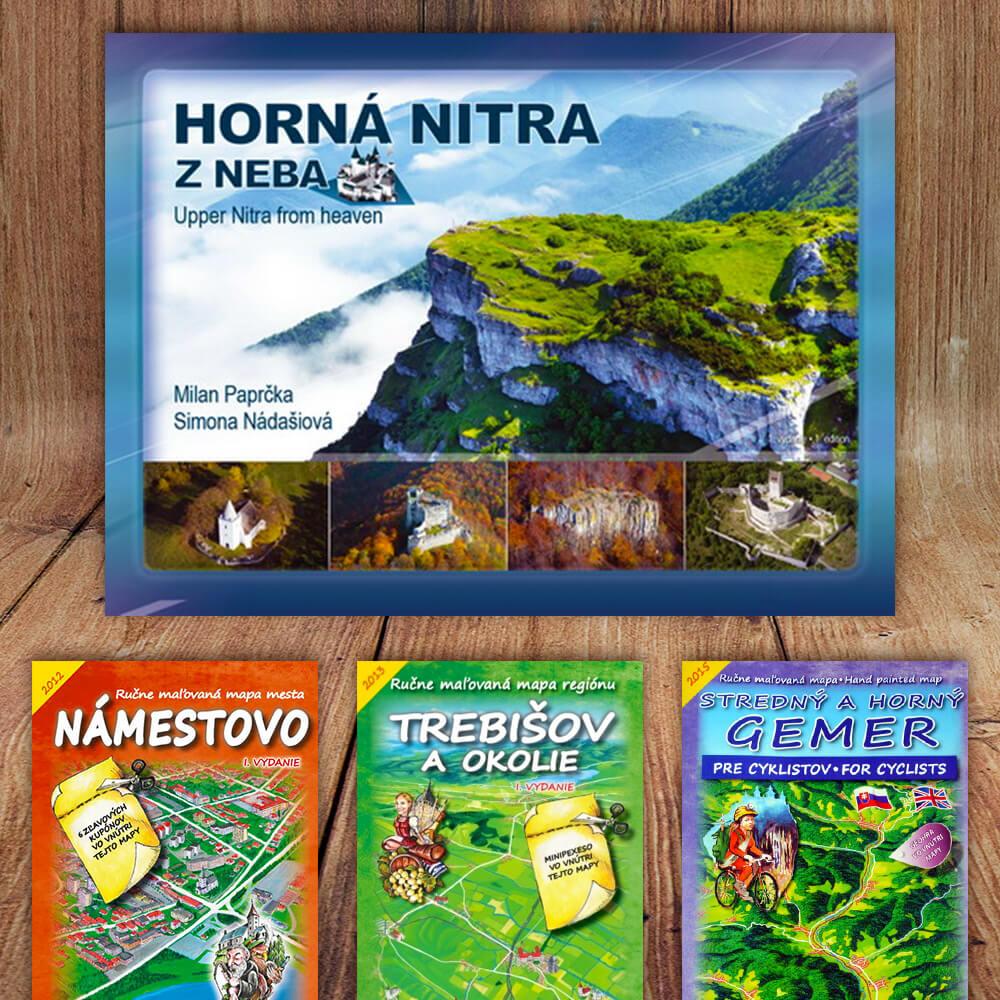 Kniha Horná Nitra z neba (vydavateľstvo CBS) + DARČEK maľovaná mapa