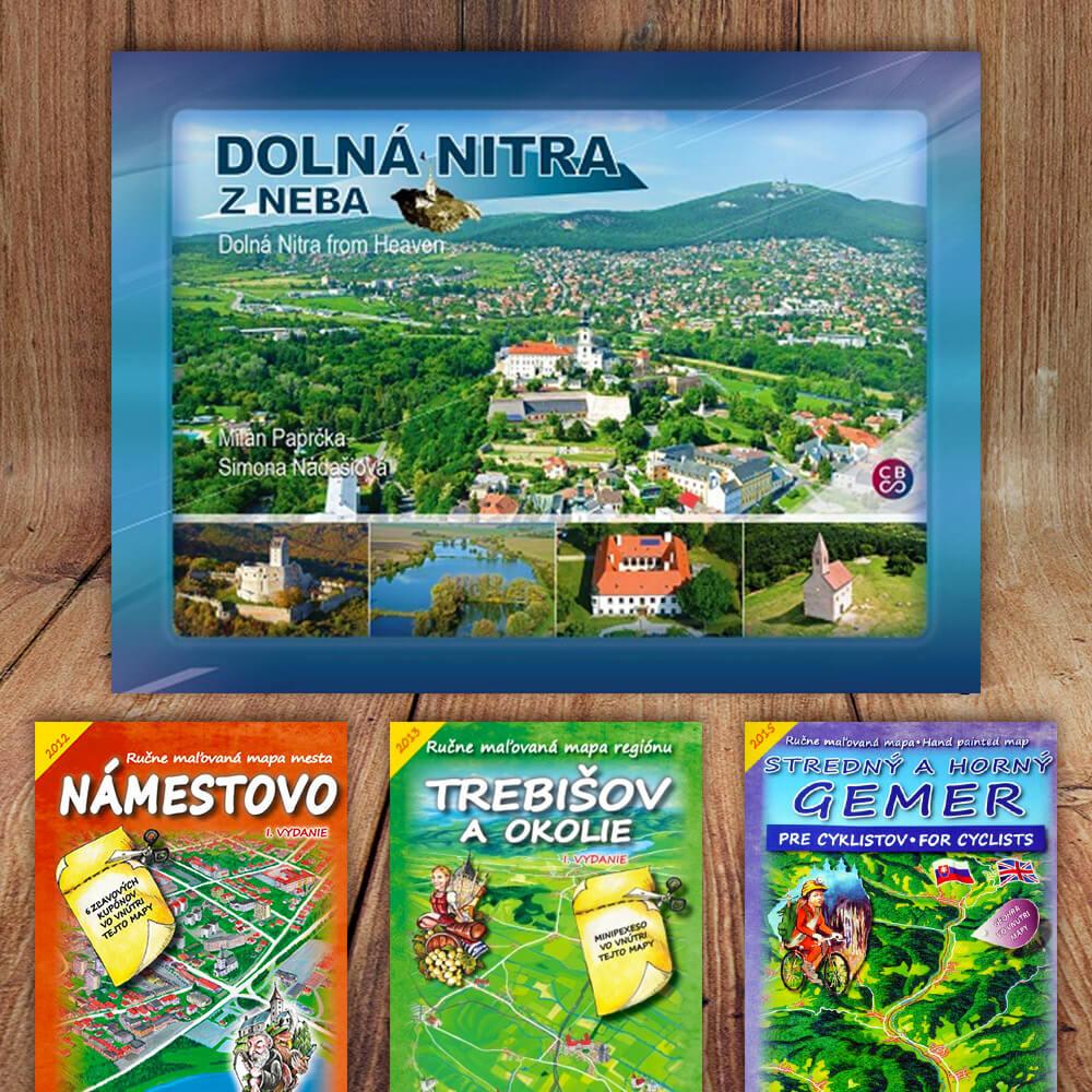 Kniha Dolná Nitra z neba (vydavateľstvo CBS) + DARČEK maľovaná mapa