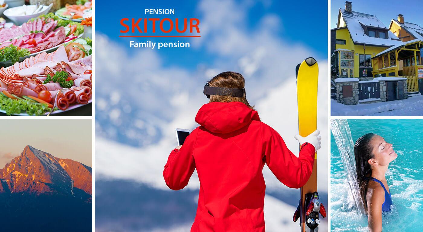 Vysoké Tatry: zimný pobyt v Penzióne Skitour**+ na 4 dni pre dvoch aj s raňajkami a kúpaním v AquaCity Poprad