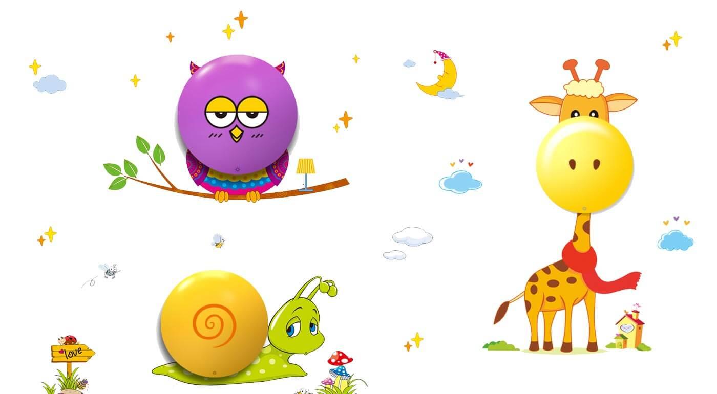 Dotyková LED lampa pre deti v tvare sovičky, žirafy alebo slimáčika - doplnok, ktorý krásne rozžiari každú detskú izbu