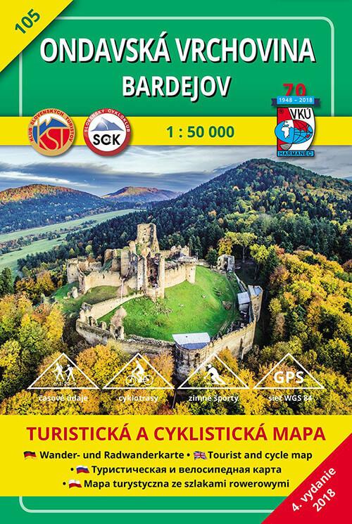 VKÚ Harmanec Turistická mapa Ondavská vrchovina - Bardejov 1:50 000 TM 105