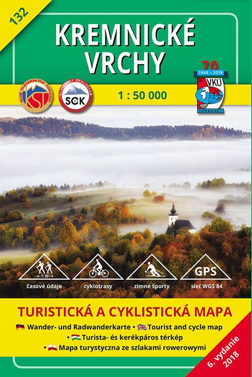 VKÚ Harmanec Turistická mapa Kremnické vrchy 1:50 000 TM 132