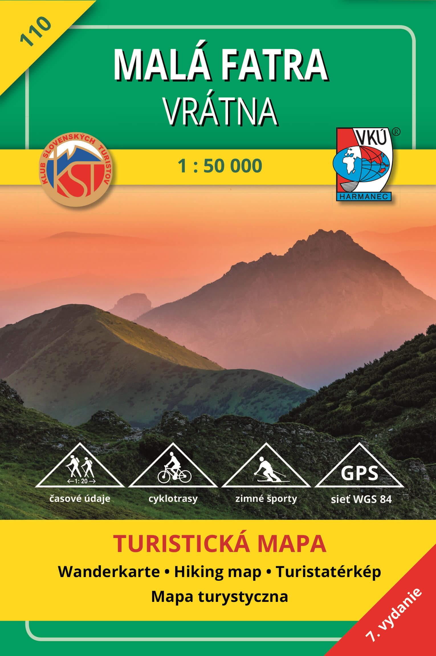 VKÚ Harmanec Turistická mapa Malá Fatra - Vrátna 1:50 000 TM 110