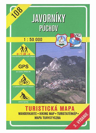 VKÚ Harmanec Turistická mapa Javorníky - Púchov 1:50 000 TM 108