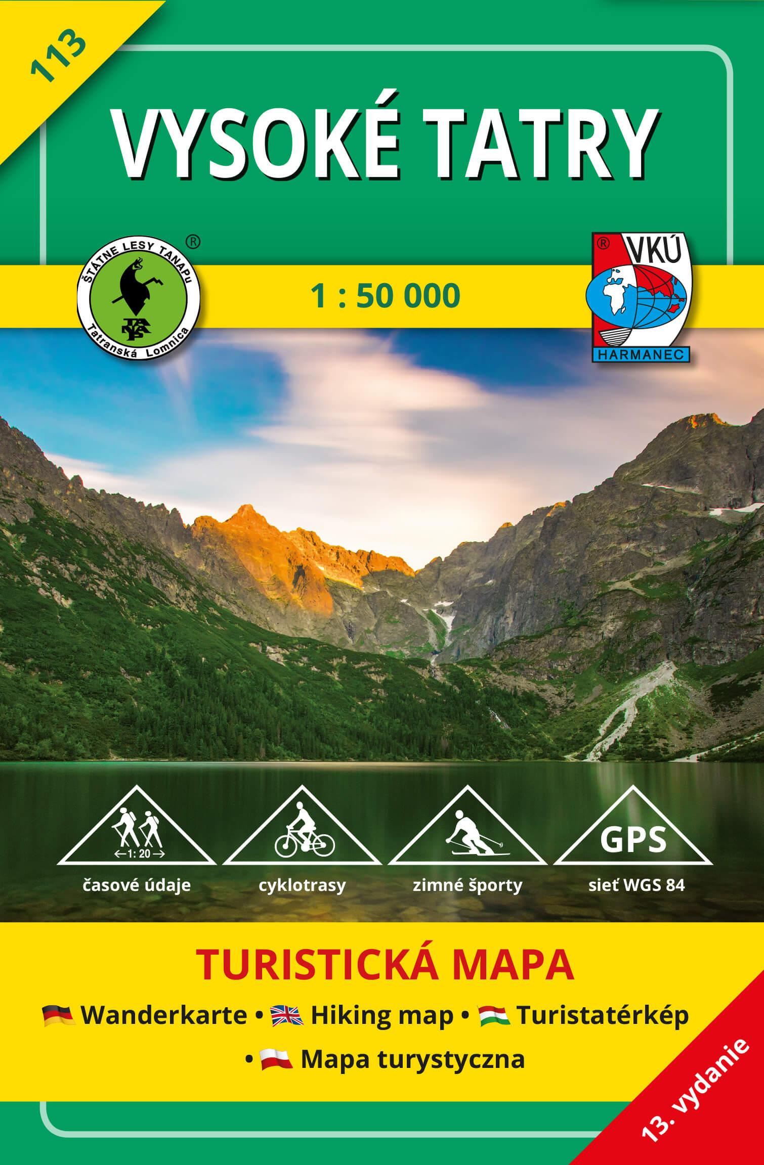VKÚ Harmanec Turistická mapa Vysoké Tatry 1:50 000 TM 113