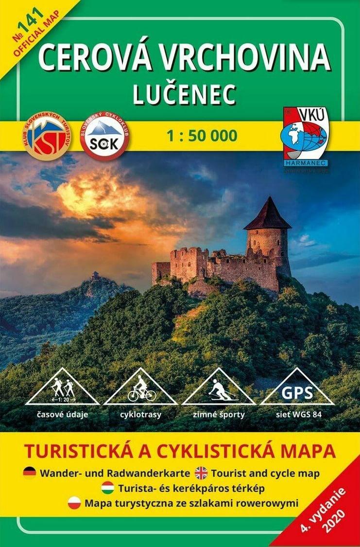 VKÚ Harmanec Turistická mapa Cerová vrchovina - Lučenec 1:50 000 TM 141