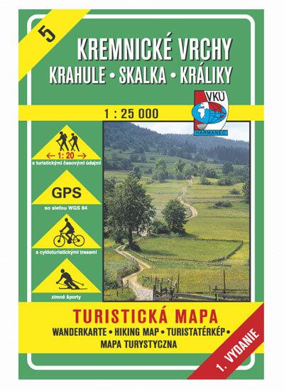 VKÚ Harmanec Turistická mapa Kremnické vrchy - Krahule, Skalka, Králiky 1:25 000 TM 5