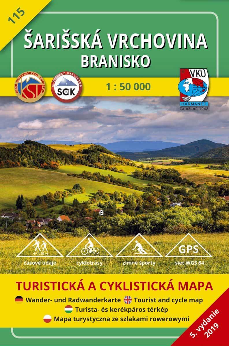 VKÚ Harmanec Turistická mapa Šarišská vrchovina - Branisko 1:50 000 TM 115