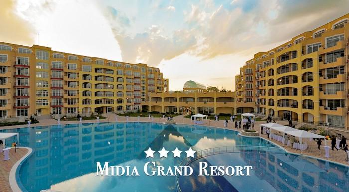 Užite si dovolenku na krásnych pieskových plážach v plne vybavenom apartmáne Midia Grand Resort**** v Bulharsku pri Čiernom mori.