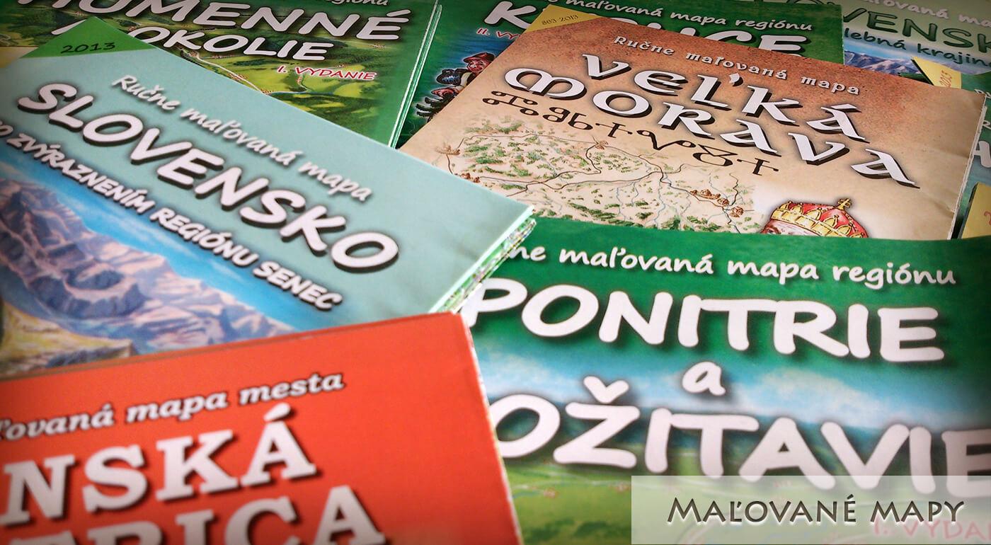Maľované mapy Slovenské regióny od vydavateľstva CBS - vyberte si skladanú alebo laminovanú mapu