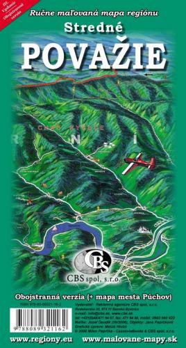 Maľovaná mapa CBS Stredné Považie obojstranná - skladaná