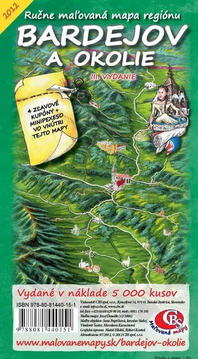 Maľovaná mapa CBS Bardejov a okolie - skladaná