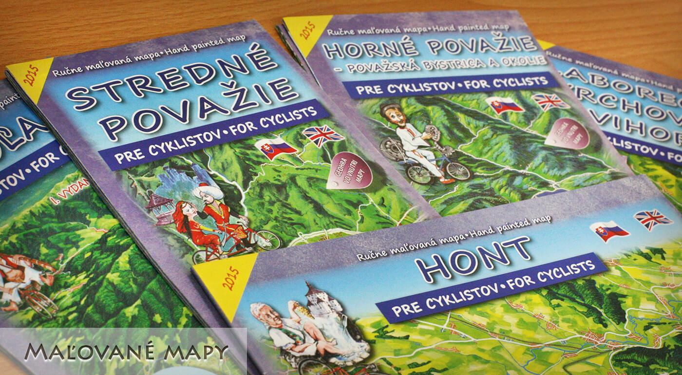 Maľované cyklomapy slovenských regiónov od vydavateľstva CBS - v ponuke skladané aj nástenné modely!